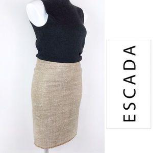 Escada Silk Linen Blend Tweed Pencil Skirt, Small